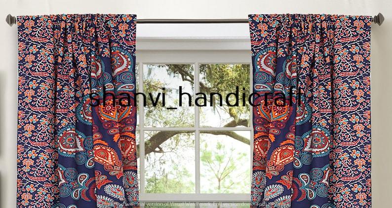 Indian Handmade Mandala Curtain Window Decor Wall Hanging Traditional Cotton Curtain Floral Design Curtain