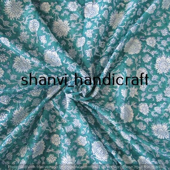 100/% Cotton Fabric Indian Hand Block Print Running 3 Yard Loose Throw Vintage