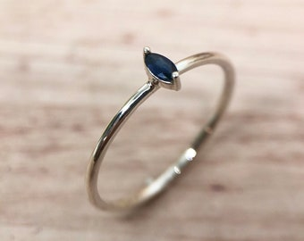 Sapphire Marquise Solitaire Ring in Silver