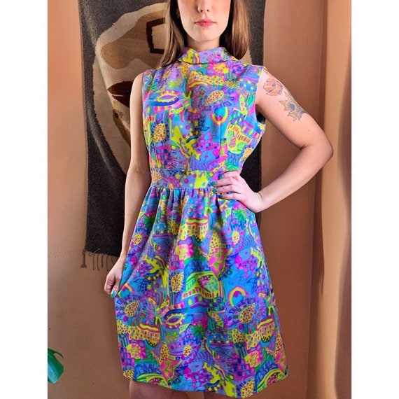 Psychedelic 60s Skater Dress