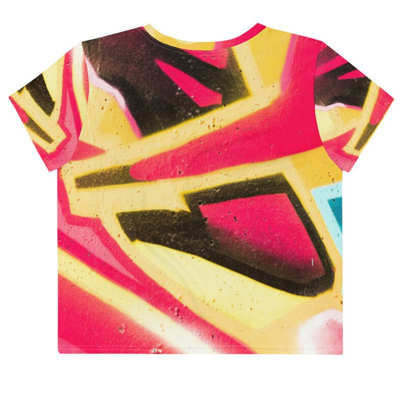 Short Cut Women/'s T-Shirt with Red Yellow Abstract Art Color Game Pattern as A Gift Idea for Birthday or Christmas