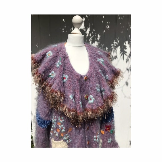 Rosina Ball Original: Mohair Mix Embroidered Cardi