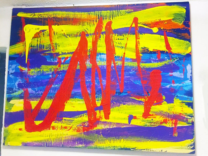 Vivid & Colorful Abstract Acrylic Painting On Canvas image 0