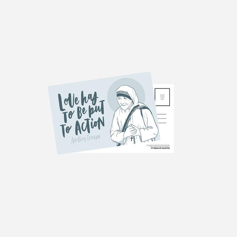 Mother Teresa Postcard  Love Has To Be Put to Action  Catholic Design Postcard