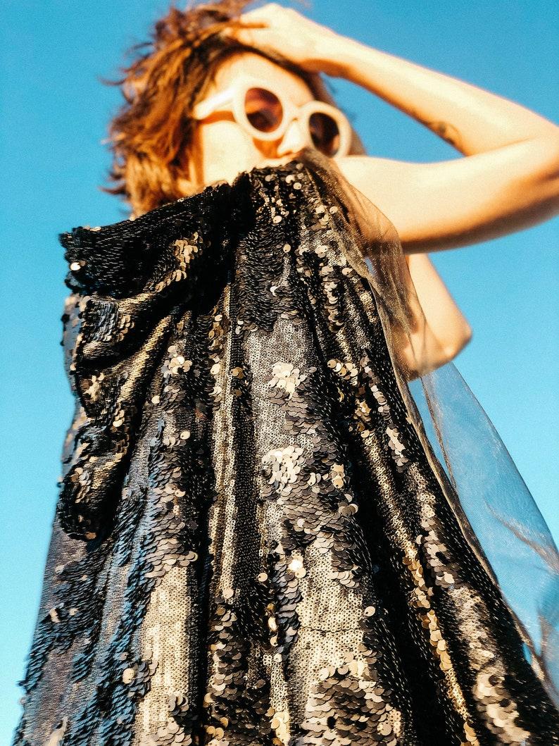 Black Sequin Cape Burning Man Coat Plus Size Kimono Rave Outfit Music Festival Clothing