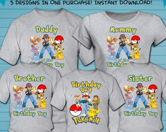 9f28a65d Family Set / Pokemon Iron On Transfer Designs / Pokemon Family Bundle Shirt  Design / Pokemon Family Shirt / Instant Download