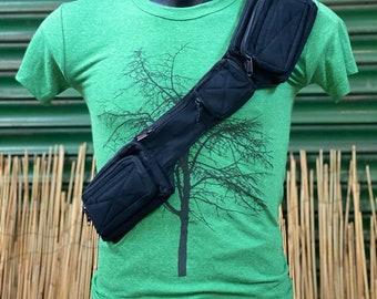 "Belt with 8 pockets/compartments model ""Mini Thai Belt"" unisex. Travel belt. Travel belt bag. Festival belt. Cotton Canvas."