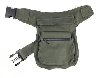"""Kidney/Bag/Faltriquera model """"Bangkok"""" unisex. Travel bag. Hip Bag. Holster bag. Adjustable Strap. Cotton Canvas."""