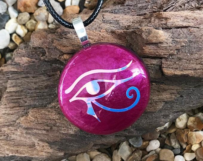 Healing Orgone Necklace Strawberry Quartz EMF Protection Eye Of Horus Reiki Charged Elite Shungite Rose Quartz Orgone Pendant