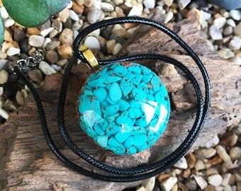 Howlite Reiki Charged Healing Orgone Necklace Orgone Pendant Green Aventurine EMF Protection Elite Shungite Amazonite