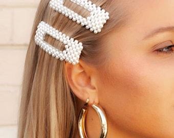 Large Surdimensionné Femmes Perle Cheveux Clip Gold Slide Grips Barrette Cheveux Accessoires