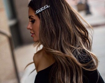 "d415b7986 Sliver Rhinestone ""GUCCI"" Inspired Hair Clip, Gucci Inspired Hair Clips, Gucci  Hair Clips, hair accessories, hair barrettes, custom hairclip"