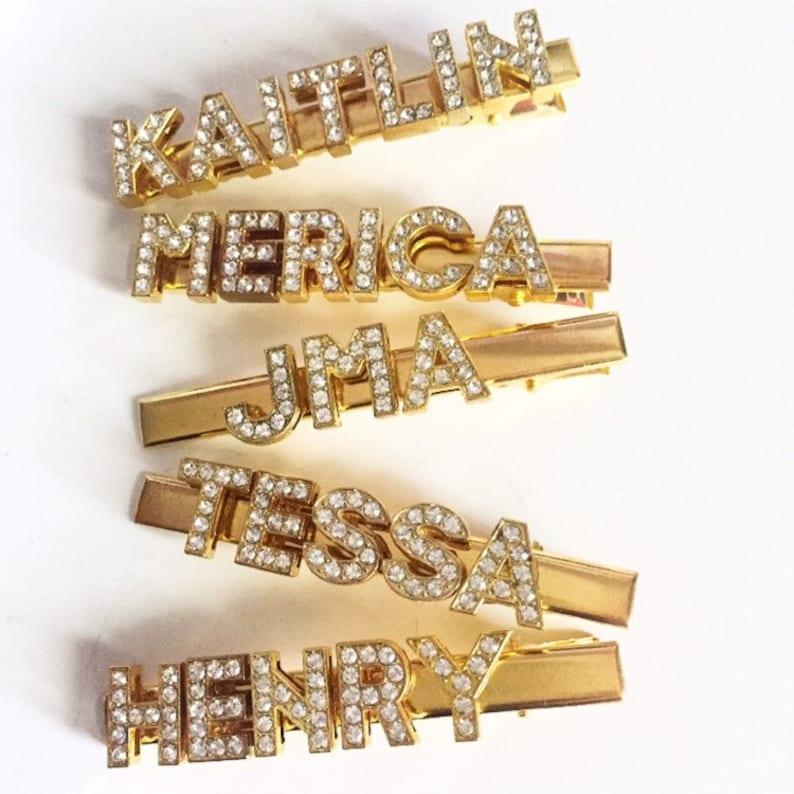 Rhinestone Word Slogan Hair Clips Personalised Diamante Hair Clips