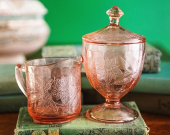 Jeanette Floral Pink Sugar Jar with Lid Poinsettia Design 1930/'s Depression Glass Cottage Chic Covered Sugar Bowl