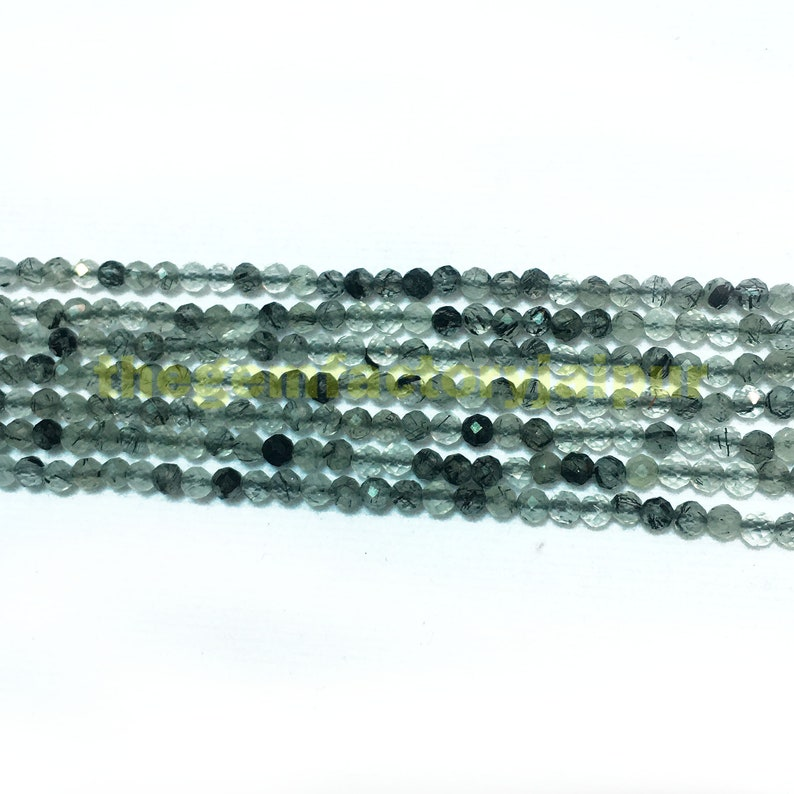 Black Rutile Gemstone Faceted Rondelles Rutile Rondelle Beads 3mm 13 Inches RFB49