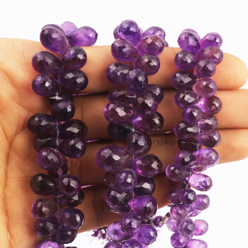 Natural Amethyst Faceted Drop Beads Briolettes Jewelry Making Suppliers 8 Beads For Bracelet Purple Amethyst Semi Precious Gemstone