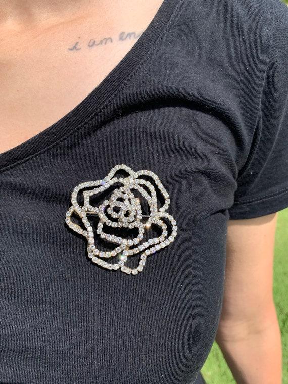 Vintage Rose Gemstone Brooch, Floral Cubic Zirconi