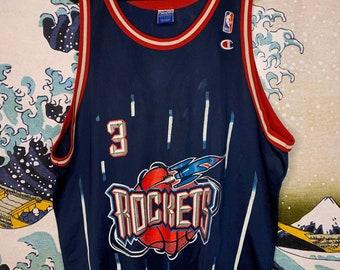 7c3f1486c9c Vintage Houston Rockets Champion Jersey Steve Francis NBA Playoffs Oilers  Texans Astros 90s size 52