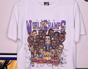 391a3f49d Vintage 1987 Los Angeles Lakers World Champs Kobe Bryant Shaq Lebron James  Screen Stars size L NBA Playoffs Rock Rap Band Tee Shirt