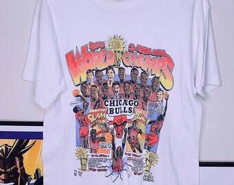 e77e4634dfc VTG Chicago Bulls 1993 3-Time NBA Champs Men's M Caricature Comic Playoffs T -Shirt Michael Jordan Rock Band Rap Tee