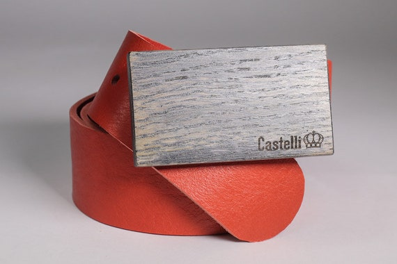 HANDMADE LEATHER BELT WITH WOODEN BUCKLE by Castelli  LEATHER NATURAL BLACK L