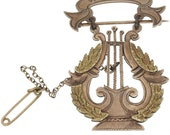 Antique Post Graduate of Piano Harp or Lyre Brooch in 10k Gold - Circa 1906