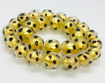 8 vintage Venetian lamp work beads vintage Murano glass beads from an old stock unusual large gold foil glass beads with trail decoration