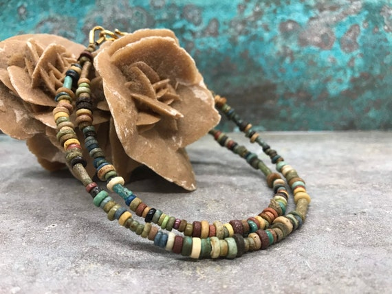 Ancient Egyptian necklace with ancient mummy beads