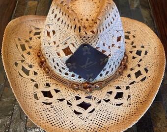 cb56b7742016f Authentic Repurposed Louis Vuitton Patch Straw Cowboy Hat