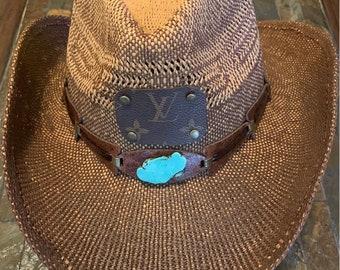 e455904316ad3 Ombre Woven Authentic Repurposed Louis Vuitton Cowboy Hat