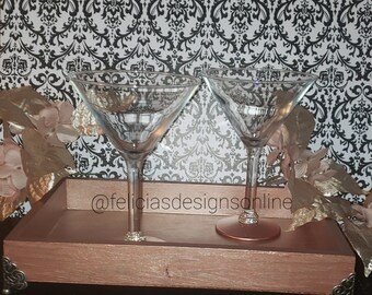 Wooden Table Tray and Martini Glasses