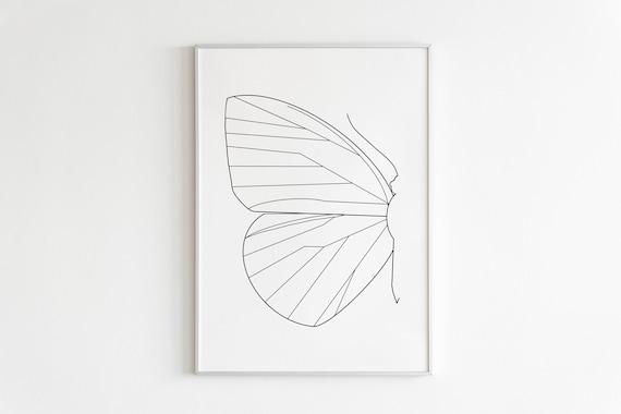 Lips Line Art,Butterfly Drawing,Printable,Lips Art Print,Kiss Poster,Minimalist Wall Art