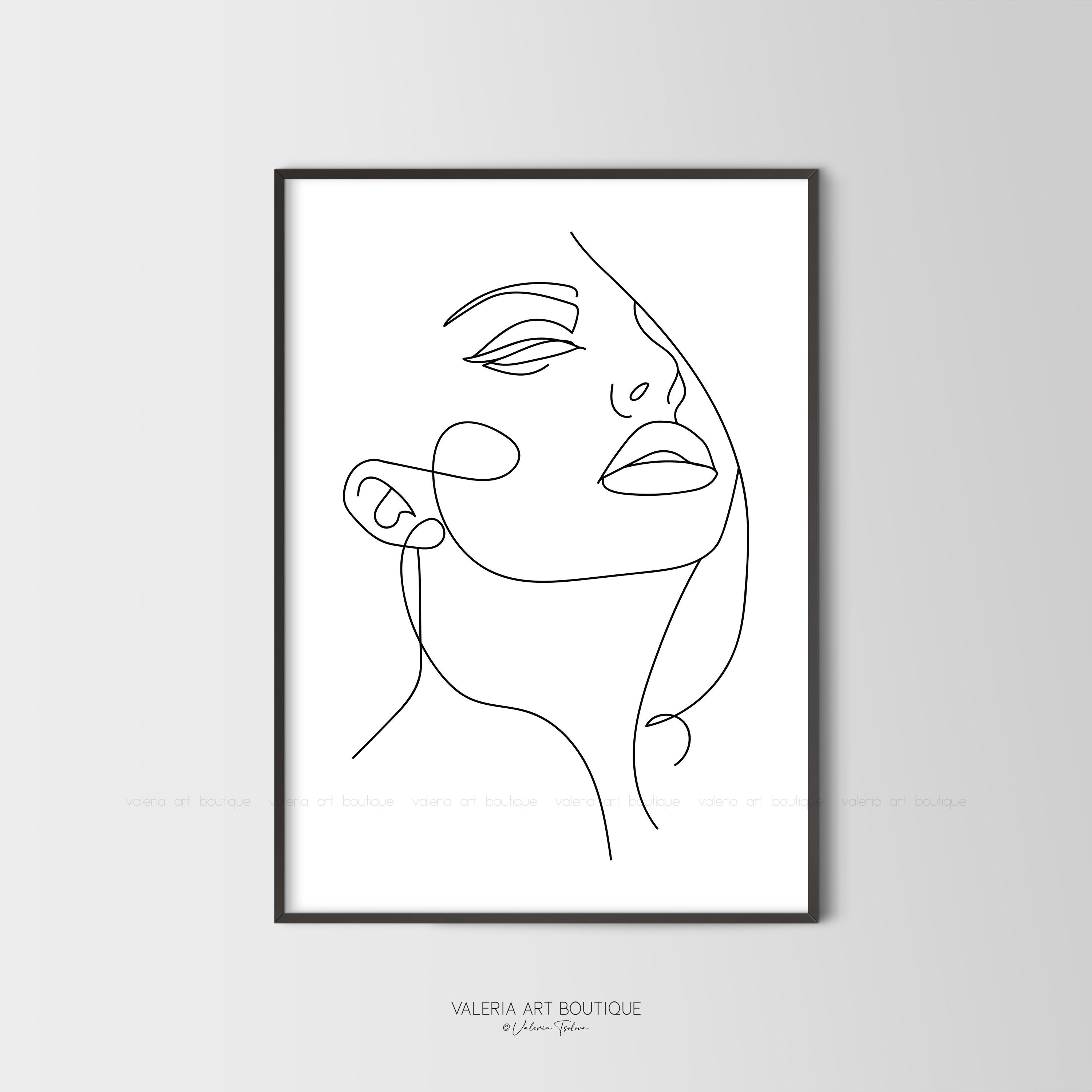 Face Line Art,Woman One Line Art,Female Drawing,Abstract Face  Print,Minimalist Wall Art,Digital Download