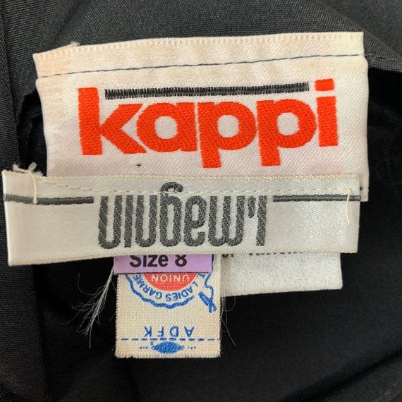 VTG 80s  I Magnin Kappi Black Satin Dress Rainbow… - image 8