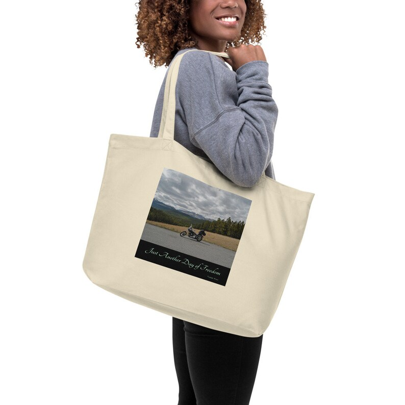 Just Another Day of Freedom Bighorn National Forest Large organic tote bag