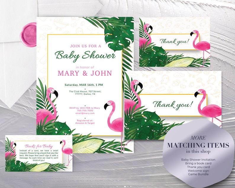 Instant download Tropical Flamingo Boy or Girl Baby Shower Games Bundle Tropical Flamingo Baby Shower Games Printable Digital File