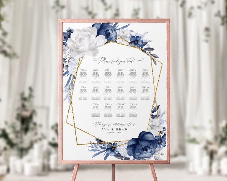 Editable dusty blue wedding poster Wedding seating chart template printable You print DIY sign #1221-4 Printable seating plan