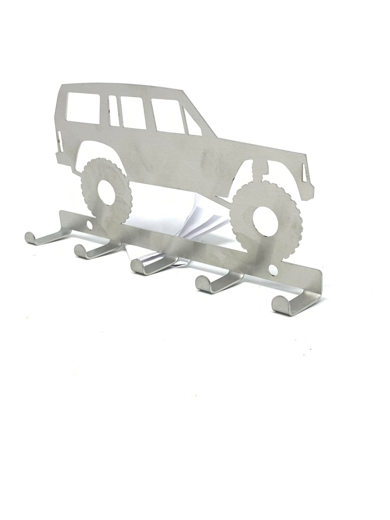 wall hanging hanger hook Lifted Jeep Cherokee XJ key holder with 5 key tabs made from stainless steel