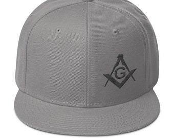 296a8448 Masonic Hat Freemason Modern Black Square & Compass Snapback Hat