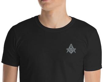 dc3bf8616 Masonic Shirt Freemason Classic Silver Square & Compass Embroidered T-Shirt