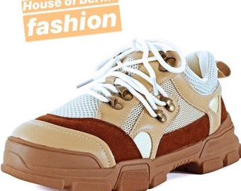 1a26d01a34e9 Womens Retro Multimaterial Daddy Colorblock High Platform Fashion  Comfortable Sneakers
