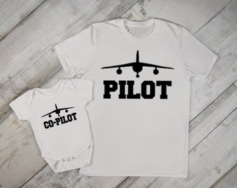 2e24e10b Pilot and Co-Pilot Daddy and Me Graphic T Shirt and Graphic Onesie For Baby  and Me My First Father's Day or New Dad Set