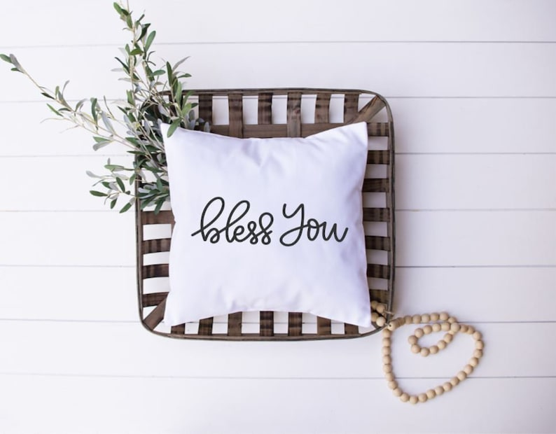 Bless You Iron-On Decal for Pillow  Iron-On Decal ONLY  DIY image 0