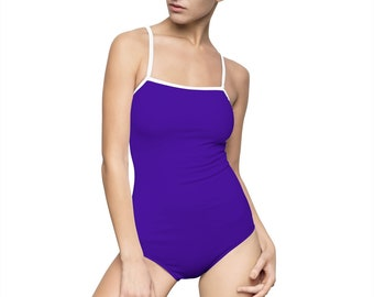 02cbeba3ace Amethyst Purple - Women's One-piece Swimsuit (Solid Purple With White  Edging)
