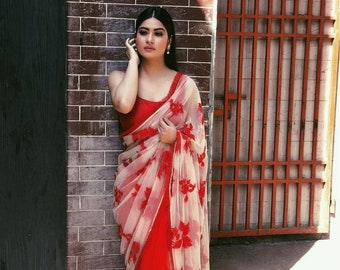 5d90fd60bb Red SAREE For Women - Soft NET GEORGETTE Saree Sari with Red Blouse for wedding  marriage function by Fashion Factory