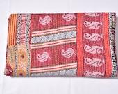 Hand Stitched One Of a Kind Kantha Throw,Unique Kantha throw,Bohemian Kantha Quilt,Reversible Kantha throw,Old Sari kantha