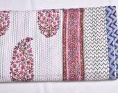 Antique Machine Stitch Quilt throw Vintage Bohemian Throw Traditional Handmade Quilt Cotton Linen Antique Linens Boutis Linen Kantha Vintage
