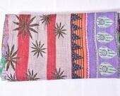 Kantha Quilt,One Of a Kind Old Sari Kantha Throw,Vintage Throw, Indian Kantha Throw,Hand Stitched Kantha,Floral Kantha
