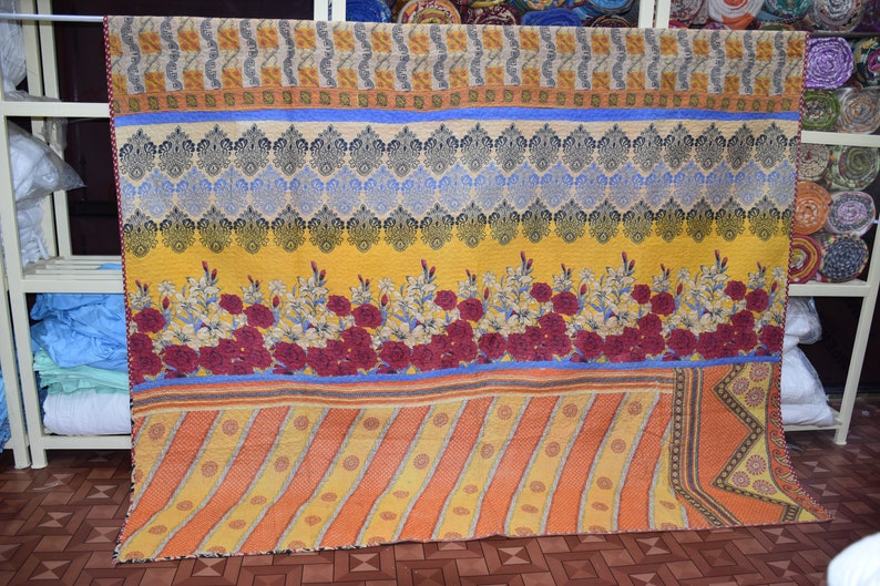 Vintage Beautiful Best Quality One Of Kind Cotton Quilt,Bohemian Old Sari Old Sari Handmade Quilt,Vintage Throw,Bedspread Quilt