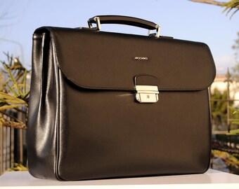 c2820052daec Leather Italian Briefcase for men, Black leather documents bag, leather business  bag, graduation gift